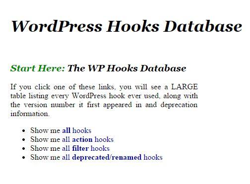 The WP Hooks Database