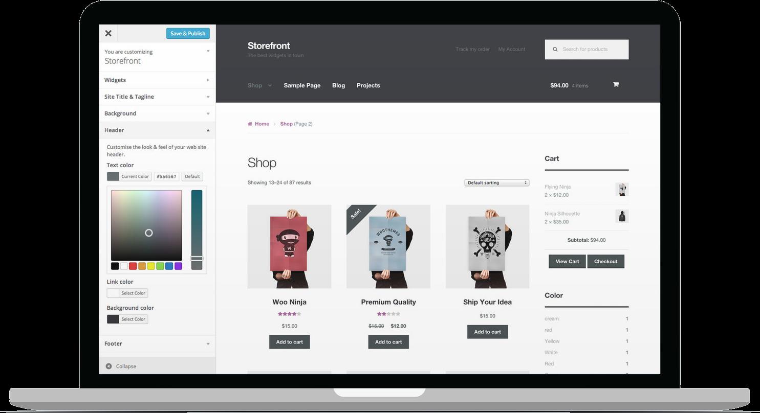 exemple de site avec WooCommerce