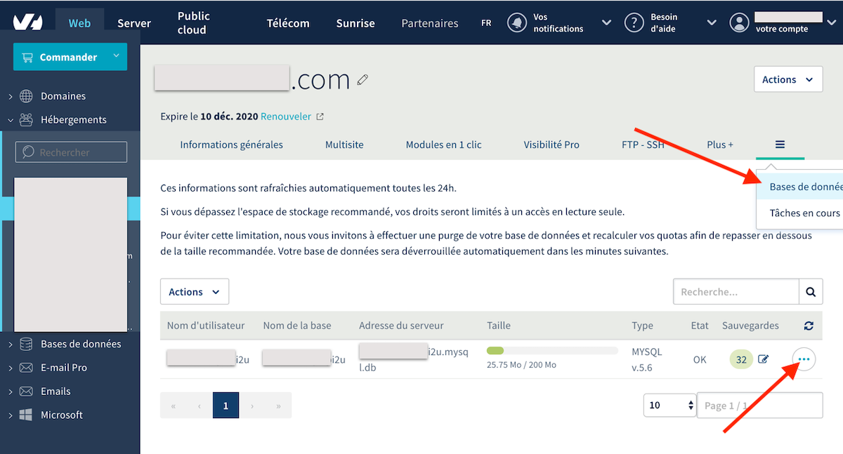 Compte client OVH