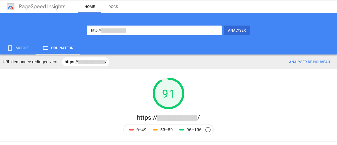 Score Page Performance Page Speed Insight