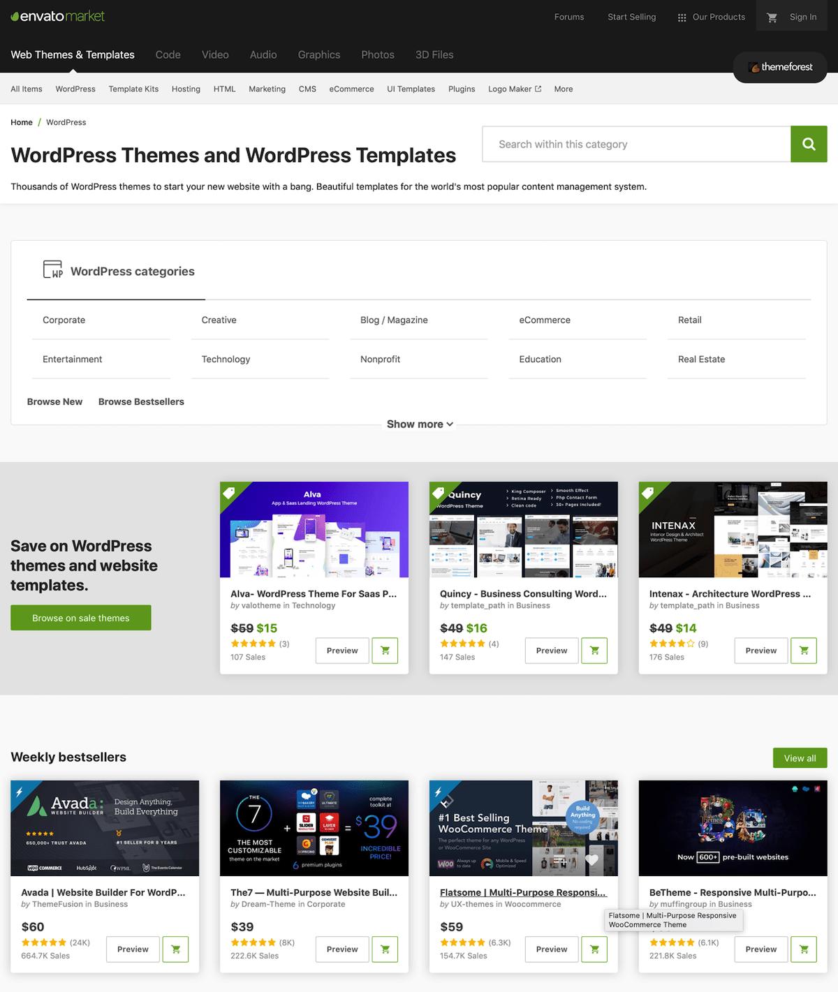Themeforest place de marchés paropoasant des Thèmes, Templates WordPress payants
