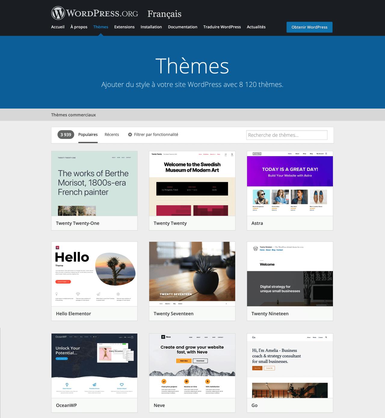 Librairie de Templates gratuits propulsés par WordPress